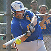 Christina Loeffler #45 of East Meadow connects for a solo home run in the bottom of the third inning of Game 3 of the Nassau County varsity softball Class AA final against Long Beach at Mitchel Athletic Complex on Friday, May 26, 2017. The homer extended the Jets' lead to 3-1. East Meadow went on to win by that same score to take the best-of-three series two games to one.