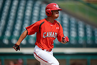 Canadian Junior National Team TJ Schofield-Sam (18) runs to first base during a Florida Instructional League game against the Atlanta Braves on October 9, 2018 at the ESPN Wide World of Sports Complex in Orlando, Florida.  (Mike Janes/Four Seam Images)
