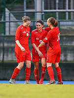 20191221 - WOLUWE: Woluwe players are celebrating the goal of  Stefanie Suenens (middle) during the Belgian Women's National Division 1 match between FC Femina WS Woluwe A and KAA Gent B on 21st December 2019 at State Fallon, Woluwe, Belgium. PHOTO: SPORTPIX.BE | SEVIL OKTEM