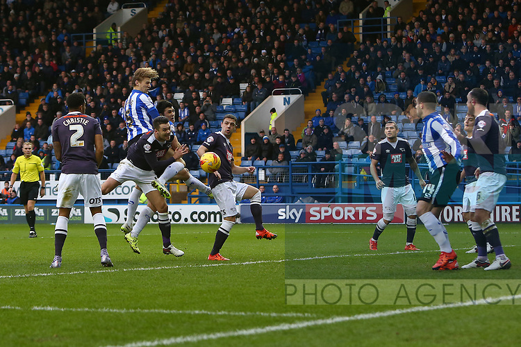 Wednesday's Glenn Loovens heads a shot wide - Sheffield Wednesday vs Derby County - Skybet Championship - Hillsborough - Sheffield - 06/12/2015 Pic Philip Oldham/SportImage