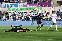SWANSEA, WALES - MARCH 25: Diogo Verdasca of Porto stretches out for the ball during the Premier League International Cup Semi Final match between Swansea City and Porto at The Liberty Stadium on March 25, 2017 in Swansea, Wales. (Photo by Athena Pictures)