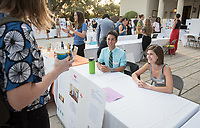 Andrew Jack and Gabrielle Seiwert were interns at The Downtown Women's Center. Career Services hosts the Summer Experience Expo, where Occidental College student interns from the InternLA program and INT Internship course shared information about the organizations they worked for over the summer. Sept. 7, 2017 at Thorne Hall patio. Employers were also in attendance.<br /> (Photo by Marc Campos, Occidental College Photographer)