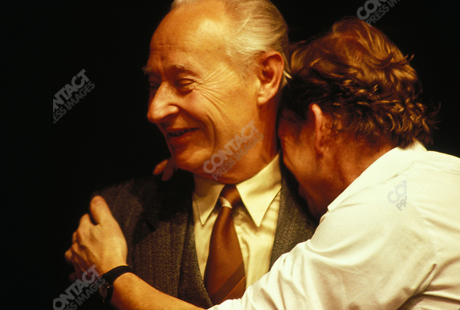 Alexander Dubcek embraced by Vaclav Havel during the Velvet Revolution, Prague, Czechoslovakia, December 1989.