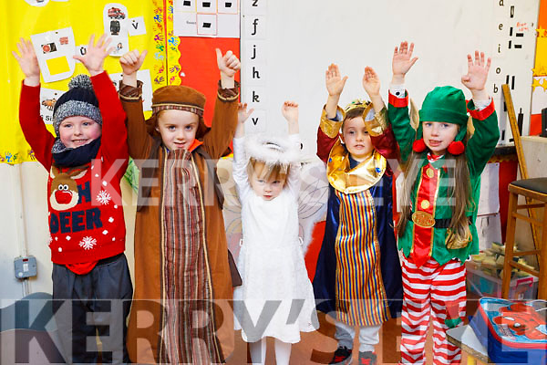 Balloonagh National School infants getting ready for their Christmas play on Monday night last. L to r: Sean O'Grady, Kian O'Donoghue, Ruby McElligott, Conor McCanon and Mya Dennehy.