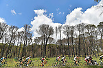The peleton in action during Stage 6 of the 2018 Giro d'Italia, running 169km from Caltanissetta to the Etna (Osservatorio Astrofisico) marks the first mountain top finish of the race finishing on the Osservatorio Astrofisico climb for the first time in race's history, Sicily, Italy. 10th May 2018.<br /> Picture: LaPresse/Fabio Ferrari | Cyclefile<br /> <br /> <br /> All photos usage must carry mandatory copyright credit (&copy; Cyclefile | LaPresse/Fabio Ferrari)