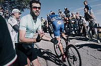 double Lombardia winner Philippe Gilbert (BEL/Quick Step floors) up the infamous Muro di Sormano (avg 17%/max 25%)<br /> <br /> Il Lombardia 2017<br /> Bergamo to Como (ITA) 247km