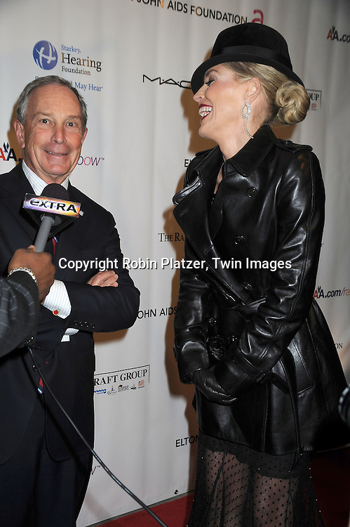 Mayor Michael Bloomberg and Sharon Stone