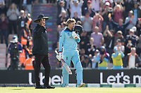 Joe Root (England) kisses the emblem and celebrates his century during England vs West Indies, ICC World Cup Cricket at the Hampshire Bowl on 14th June 2019