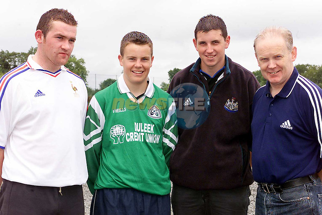 Noel Heeney, Duleek Credit Union who sponsered a set of jerseys for Duleek GAA team. Also pictured are managers Seamus Curley and Colin Crosby and player Damien O'Halloran..Picture Paul Mohan Newsfile