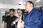 (L to R) Neymar Jr, GaGa MILANO CEO Ruben Tomella and Japanese sumo wrestler Harumafuji Kohei, pose for cameras at GaGa MILANO Harajuku store on May 30, 2017, Tokyo, Japan. Many fans gathered in front of GaGa MILANO store in Tokyo's fashion district of Harajuku to get a glimpse of their idol. The Brazilian soccer player is in Japan to promote GaGa Milano watches. The brand is celebrating their 8th anniversary since its launch in Japan. (Photo by Rodrigo Reyes Marin/AFLO)