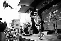 green jersey Peter Sagan (SVK/Cannondale) throwing his flowers into the crowd<br /> <br /> stage 9: TTT Vannes - Plumelec (28km)<br /> 2015 Tour de France