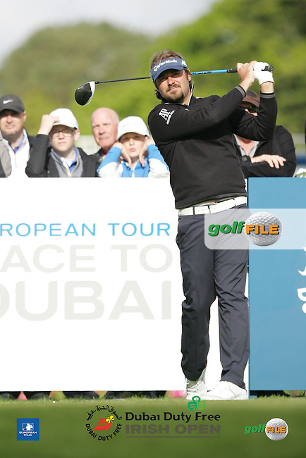 Victor Dubuisson (FRA) during Wednesday's Pro-Am ahead of the 2016 Dubai Duty Free Irish Open Hosted by The Rory Foundation which is played at the K Club Golf Resort, Straffan, Co. Kildare, Ireland. 18/05/2016. Picture Golffile | TJ Caffrey.<br /> <br /> All photo usage must display a mandatory copyright credit as: &copy; Golffile | TJ Caffrey.
