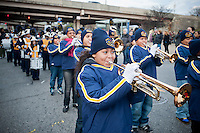 PS 257 marching band in the annual Three Kings Day Parade in the Bushwick neighborhood of Brooklyn on Sunday, January 8, 2012. Neighborhood school children marched with residents, camels and kings in their celebration of the Epiphany. Many in the Latino community celebrate the traditional December 25 Christmas and the Epiphany. (© Richard B. Levine)