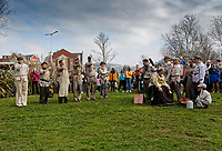 Pictured: Actors perform at The Man Engine show at the Waterfront Museum in Swansea, Wales, UK. Thursday 12 April 2018<br /> Re: The largest mechanical puppet in Britain starts its tour across south Wales.<br /> Man Engine, a mechanical miner which measures 36ft (11m) tall, will appear at the Waterfront Museum in Swansea, Wales, animated by a dozen handlers.<br /> The giant is visiting areas linked to the nation's industrial past.