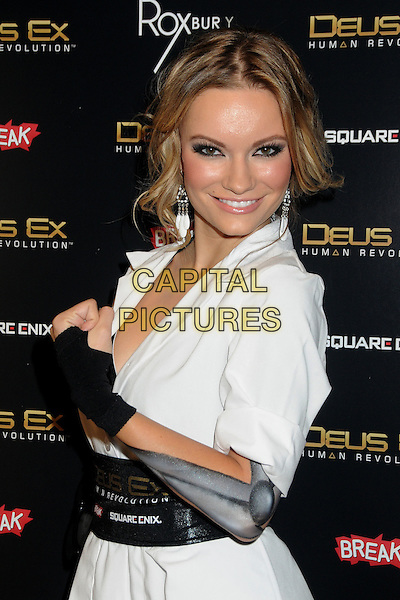 "Caitlin O'Connor.""Deus Ex: Human Revolution"" Launch Party held at The Roxbury, Hollywood, California, USA..August 23rd, 2011.half side length white dress black belt waistband  fingerless glove.CAP/ADM/BP.©Byron Purvis/AdMedia/Capital Pictures."
