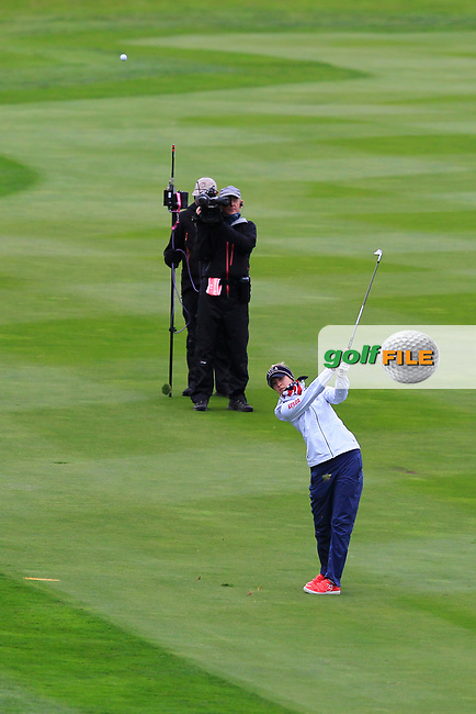 Nelly Korda (USA) on the 1st fairway during Day 3 Singles at the Solheim Cup 2019, Gleneagles Golf CLub, Auchterarder, Perthshire, Scotland. 15/09/2019.<br /> Picture Thos Caffrey / Golffile.ie<br /> <br /> All photo usage must carry mandatory copyright credit (© Golffile | Thos Caffrey)