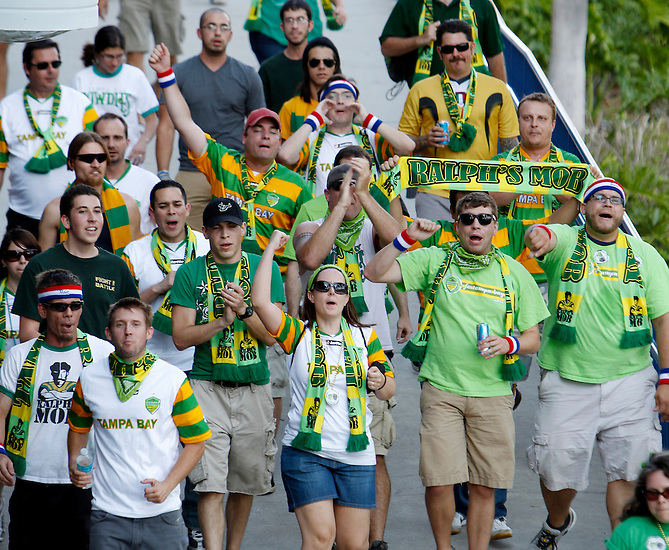May 27, 2010; TAMPA, FLORIDA: Members of the Ralph's Mob fan group march to the stadium before the FC Tampa Bay Rowdies 3-1 victory over the Minnesota Stars at Steinbrenner Field in Tampa, Florida. Photo by Matt May/FC Tampa Bay Rowdies