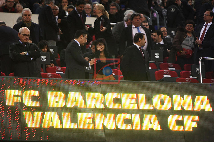 League Santander 2016/2017. Game: 28.<br /> FC Barcelona vs Valencia CF: 4-2.<br /> Josep M. Bartomeu &amp; Lay Hoon Chan.