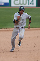 Kane County Cougars infielder Joe Munoz (11) rounds second and heads for third during a Midwest League game against the Wisconsin Timber Rattlers on May 16th, 2015 at Fox Cities Stadium in Appleton, Wisconsin.  Kane County defeated Wisconsin 4-2.  (Brad Krause/Four Seam Images)