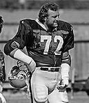 Oakland Raiders training camp August 10, 1982 at El Rancho Tropicana, Santa Rosa, California.   Oakland Raiders linebacker John Matuszak (72).