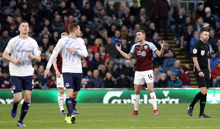 Burnley's Ben Gibson reacts after Everton's Lucas Digne  scored his side's second goal from a free-kick<br /> <br /> Photographer Rich Linley/CameraSport<br /> <br /> The Premier League - Burnley v Everton - Wednesday 26th December 2018 - Turf Moor - Burnley<br /> <br /> World Copyright © 2018 CameraSport. All rights reserved. 43 Linden Ave. Countesthorpe. Leicester. England. LE8 5PG - Tel: +44 (0) 116 277 4147 - admin@camerasport.com - www.camerasport.com