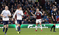 Burnley's Ben Gibson reacts after Everton's Lucas Digne  scored his side's second goal from a free-kick<br /> <br /> Photographer Rich Linley/CameraSport<br /> <br /> The Premier League - Burnley v Everton - Wednesday 26th December 2018 - Turf Moor - Burnley<br /> <br /> World Copyright &copy; 2018 CameraSport. All rights reserved. 43 Linden Ave. Countesthorpe. Leicester. England. LE8 5PG - Tel: +44 (0) 116 277 4147 - admin@camerasport.com - www.camerasport.com
