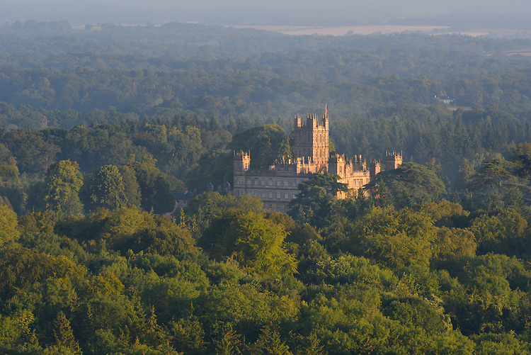 Dawn over Highclere Castle from Beacon Hill, Berkshire.