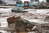 Pictured: A car is stranded in the flood.<br /> Re: Five people have reportedly died and severe damage caused by heavy rain and flash flooding in the area of Mandra, near Athens, Greece. Wednesday 15 November 2017