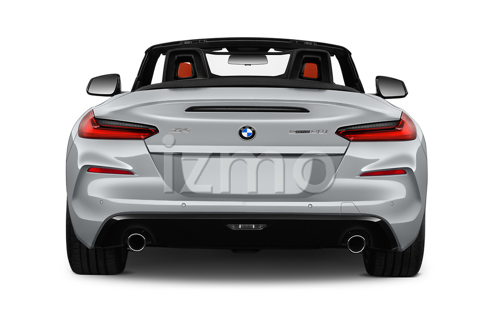 Straight rear view of 2019 BMW Z4 Sport 2 Door Convertible Rear View  stock images