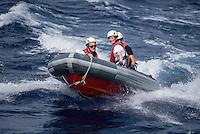 Sea Watch-2.<br /> Die Crew der 13. SAR-Mission ist auf dem Weg in ihr Einsatzgebiet vor der libyschen Kueste.<br /> Im Bild: Die Crew uebt auf dem Weg in das Einsatzgebiet mit den Rettungsbooten (Tendern oder auch RIBs).<br /> 17.10.2016, Mediterranean Sea<br /> Copyright: Christian-Ditsch.de<br /> [Inhaltsveraendernde Manipulation des Fotos nur nach ausdruecklicher Genehmigung des Fotografen. Vereinbarungen ueber Abtretung von Persoenlichkeitsrechten/Model Release der abgebildeten Person/Personen liegen nicht vor. NO MODEL RELEASE! Nur fuer Redaktionelle Zwecke. Don't publish without copyright Christian-Ditsch.de, Veroeffentlichung nur mit Fotografennennung, sowie gegen Honorar, MwSt. und Beleg. Konto: I N G - D i B a, IBAN DE58500105175400192269, BIC INGDDEFFXXX, Kontakt: post@christian-ditsch.de<br /> Bei der Bearbeitung der Dateiinformationen darf die Urheberkennzeichnung in den EXIF- und  IPTC-Daten nicht entfernt werden, diese sind in digitalen Medien nach §95c UrhG rechtlich geschuetzt. Der Urhebervermerk wird gemaess §13 UrhG verlangt.]