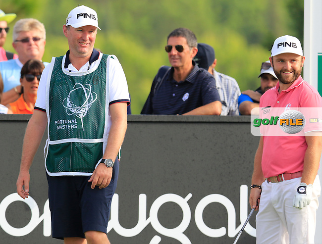 Andy Sullivan (ENG) and caddy Sean Mcdonagh on the 15th tee during Thursday's Round 1 of the 2016 Portugal Masters held at the Oceanico Victoria Golf Course, Vilamoura, Algarve, Portugal. 19th October 2016.<br /> Picture: Eoin Clarke | Golffile<br /> <br /> <br /> All photos usage must carry mandatory copyright credit (&copy; Golffile | Eoin Clarke)