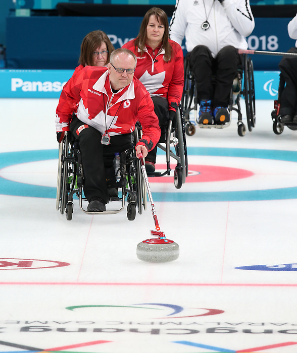 Pyeongchang, Korea, 15/3/2018-Dennis Thiessen, Marie Wright, Ina Forrest, compete in the  wheelchair curling during the 2018 Paralympic Games in PyeongChang.  Photo Scott Grant/Canadian Paralympic Committee.