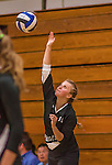 30 September 2014: The Vermont Commons School Flying Turtles visit the Burlington Seahorses at Burlington High School in Burlington, Vermont. High School Volleyball has been granted a two-year exhibition status in the State of Vermont starting with the 2013 season, in effort to attain full varsity status. Mandatory Credit: Ed Wolfstein Photo *** RAW (NEF) Image File Available ***