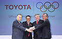 (L-R) Yoshiro Mori,  Akio Toyoda, Thomas Bach, Tsunekazu Takeda, MARCH 13, 2015 - Signing ceremony for making Toyota an official top-ranked Olympic sponsorship in Tokyo, Japan. (Photo by Motoo Naka/AFLO)