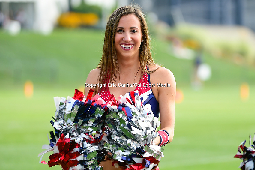 August 2, 2017: A New England Patriots cheerleader entertains fans at the New England Patriots training camp held at Gillette Stadium, in Foxborough, Massachusetts. Eric Canha/CSM