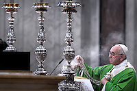 Pope Francis during a papal mass for the 14th Ordinary General Assembly of the Synod of Bishops at St Peter's basilica at the Vatican.  on October 25, 2015