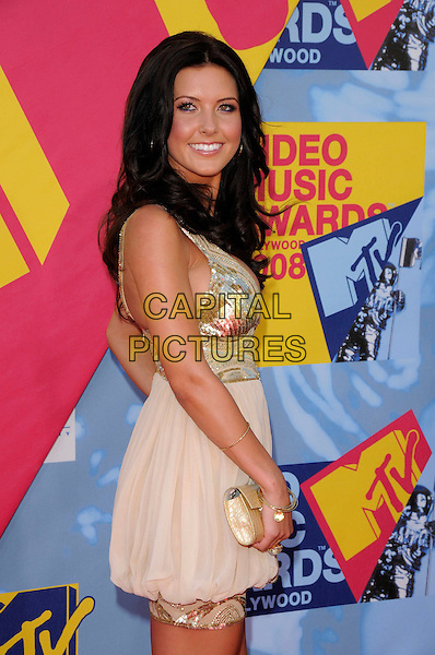 AUDRINA PATRIDGE.The 2008 MTV Video Music Awards held at Paramount Studios in Hollywood, California, USA..September 7th, 2008.half 3/4 length gold sequins sequined beige dress clutch bag VMA Vmas.CAP/DVS.©Debbie VanStory/Capital Pictures.