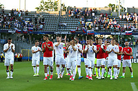 The dejected Slovakians parade around the pitch after Slovakia Under-21 vs England Under-21, UEFA European Under-21 Championship Football at The Kolporter Arena on 19th June 2017