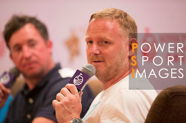 (L-R) Robbie Fowler, David May during the Football Players Press Conference on the sidelines of the World Celebrity Pro-Am 2016 Mission Hills China Golf Tournament on 22 October 2016, in Haikou, China. Photo by Marcio Machado / Power Sport Images