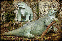 Victorian dinosaur models in Crystal Palace Park, London