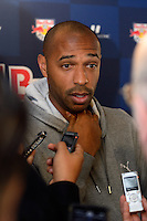 Thierry Henry (14) of the New York Red Bulls is interviewed at Red Bull Arena in Harrison, NJ, on January 24, 2014.