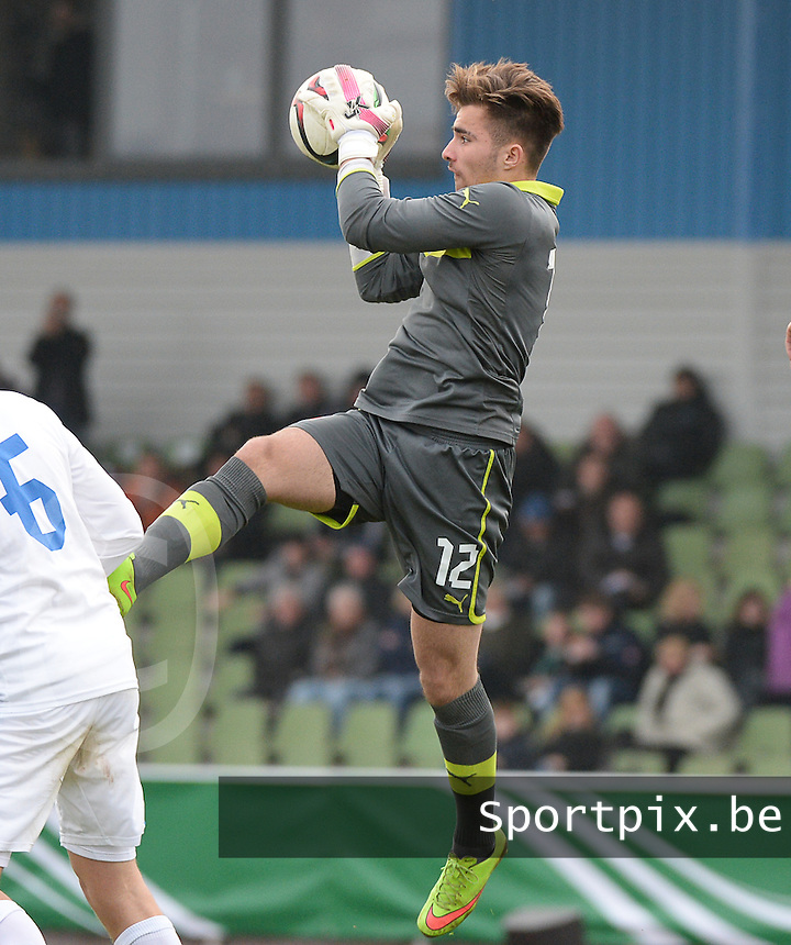 20150323 - MARBURG , GERMANY  : Slovakian goalkeeper Samuel Vavrus pictured during the soccer match between Under 17 teams of Slovakia and Italy , on the second matchday in group 8 of the UEFA Elite Round Under 17 at Georg-Gassmann , Marburg Germany . Monday 23 rd  March 2015 . PHOTO DAVID CATRY