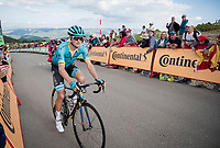 Jakob Fuglsang (DEN/Astana) in the race finale towards the finish (at almost 2000m alt.)<br /> <br /> Stage 5: L'Eliana to Observatorio Astrofísico de Javalambre (171km)<br /> La Vuelta 2019<br /> <br /> ©kramon