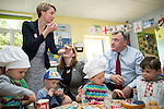 © Joel Goodman - 07973 332324 . 14/06/2016 . Burnley , UK . Yvette Cooper tries some of the cake made by Ed Balls and children . Yvette Cooper MP , Alison McGovern MP and Ed Balls making cakes with children whilst campaigning for Remain , in the EU referendum , at Giant Leap Child Care and Learning House in Burnley . Photo credit : Joel Goodman