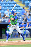 Lexington Legends third baseman John Brontsema (15) awaits a pitch during a game against the Asheville Tourists at McCormick Field on May 29, 2017 in , North Carolina. The Legends defeated the Tourists 6-2. (Tony Farlow/Four Seam Images)