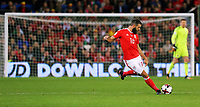 Joe Ledley of Wales takes a shot during the FIFA World Cup Qualifier Group D match between Wales and Republic of Ireland at The Cardiff City Stadium, Wales, UK. Monday 09 October 2017