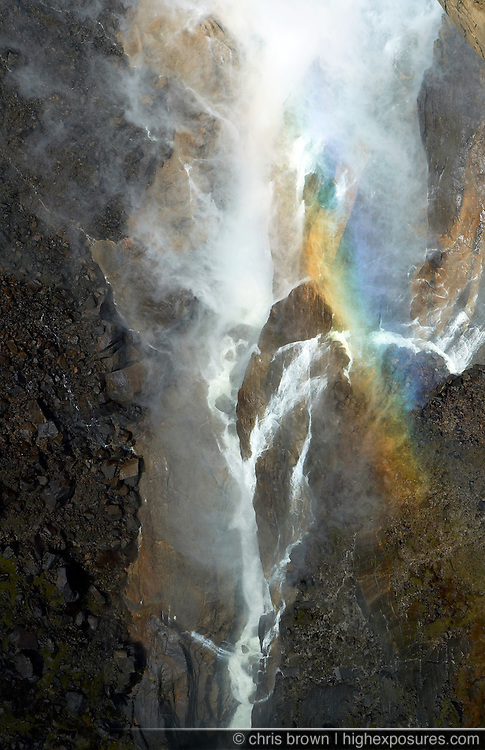 Refracted light at the base of Yosemite Falls in Yosemite National Park.