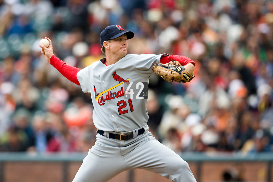 19 April 2007: Cardinals' starting pitcher Kip Wells throws during the San Francisco Giants 6-2 victory over the St. Louis Cardinals at the AT&T stadium in San Francisco, CA.