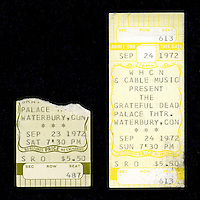 Tickets from both nights of the Grateful Dead at the Waterbury Palace Theater, 23 and 24 of September 1972. The Ticket from the 24th was never used and thus un-ripped