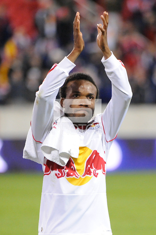 Dane Richards (19) of the New York Red Bulls celebrates with fans after the game. The New York Red Bulls defeated the New England Revolution 2-0 during a Major League Soccer (MLS) match at Red Bull Arena in Harrison, NJ, on October 21, 2010.